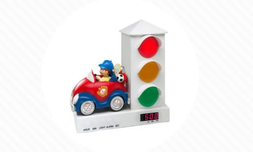 kids alarm clock with a stop light and car and the light