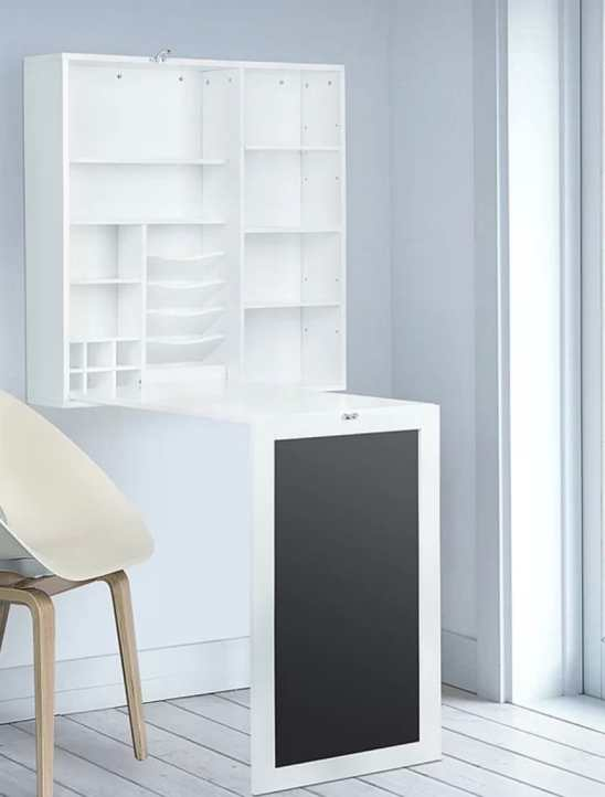 floating white wall desk storage