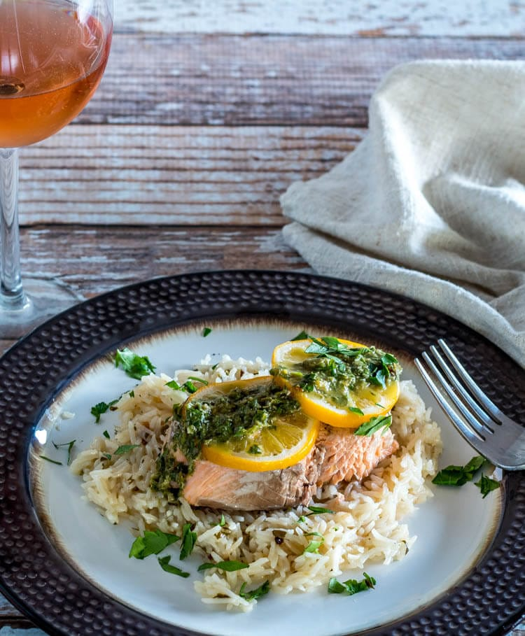 Salmon Rice on a plate made in the instant pot