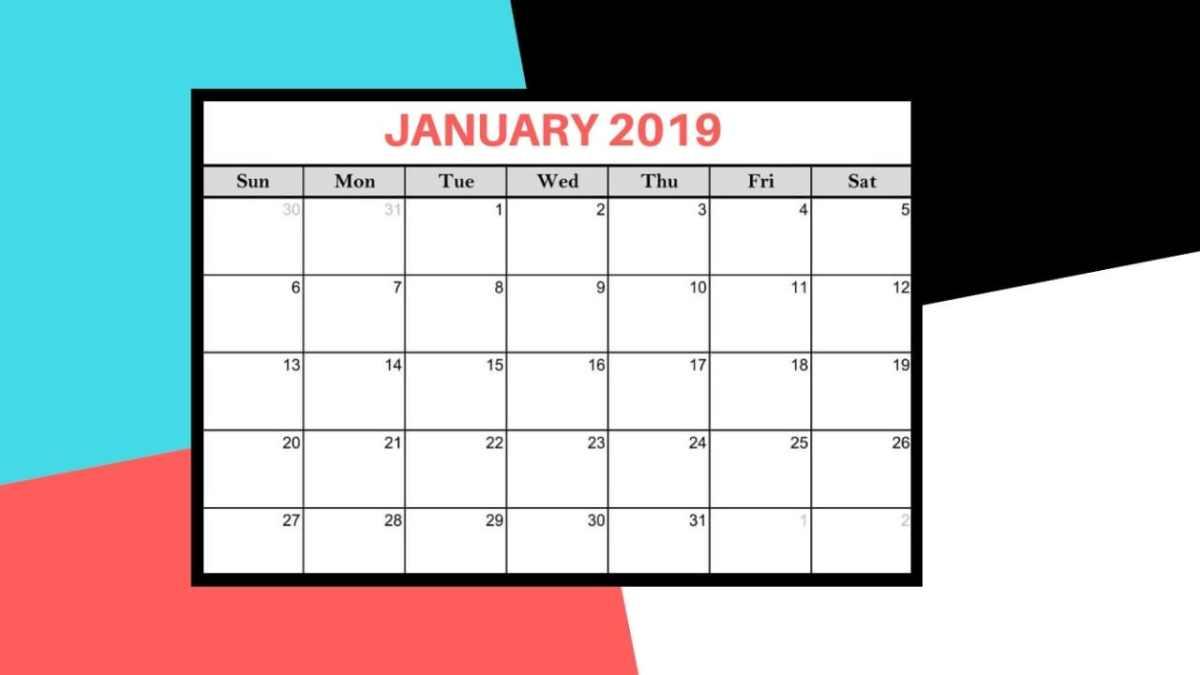 January 2019 Calendars – Desktop Wallpaper, Printable and iPhone Background