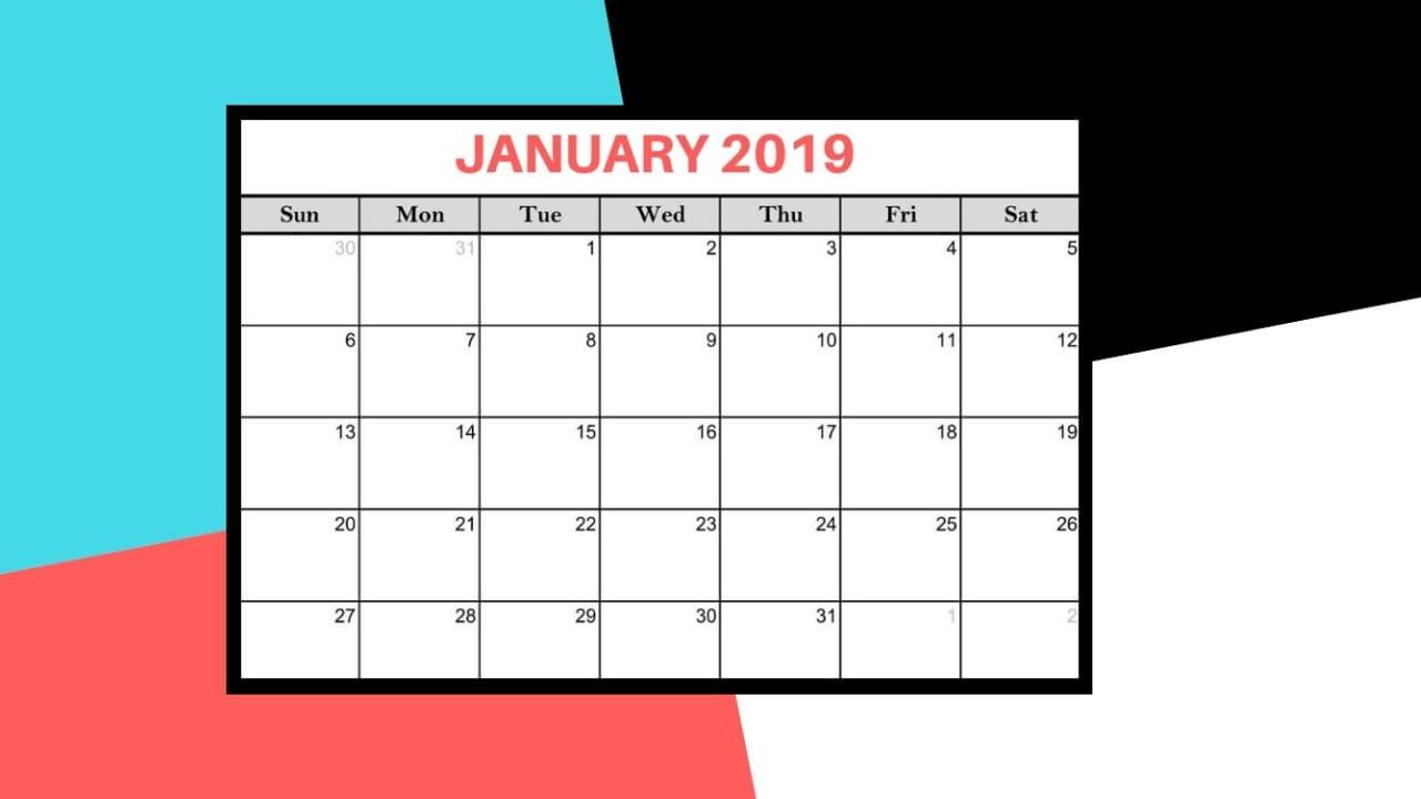 January 2019 calendars