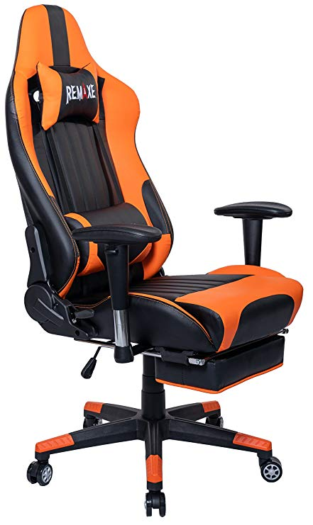Computer Gaming Chair, Height Adjustable Swivel PC Chair with Retractable Footrest Headrest and Lumbar Massager Cushion Support Leather Reclining Executive Office Chair (Black/Orange)