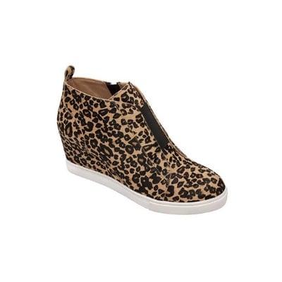 leopard print wedge sneakers