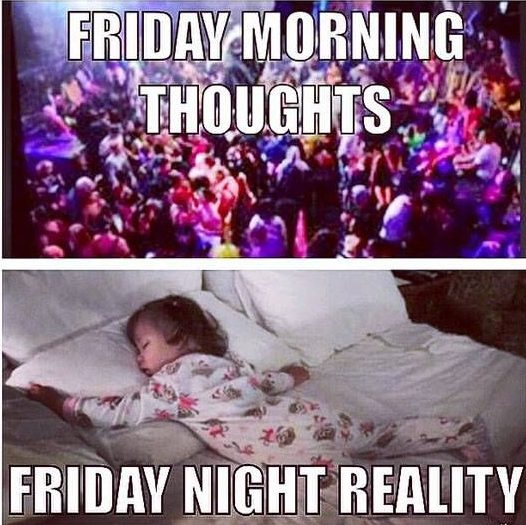 friday morning vs friday reality - partying on friday night but in reality sleeping like this little girl on a bed