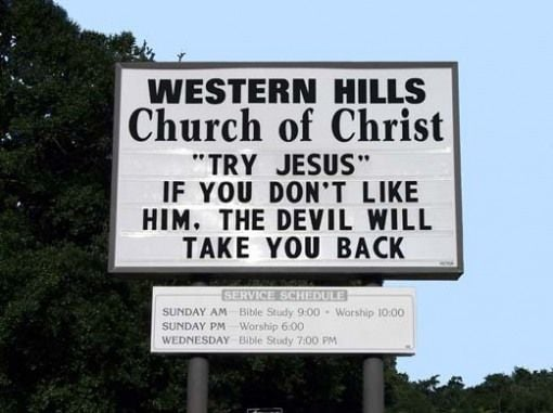 try jesus church sign sayings