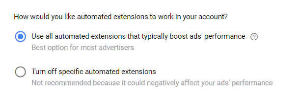 Automated extensions - Google Ads čeklista