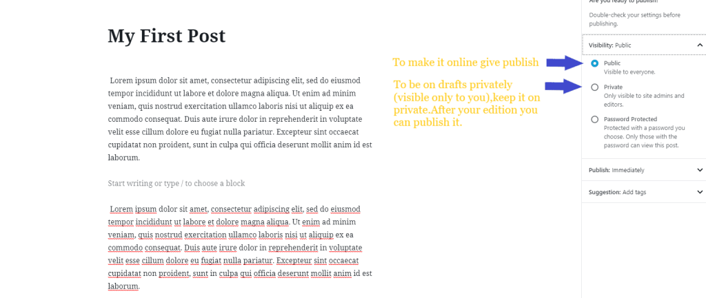 create a blog posts