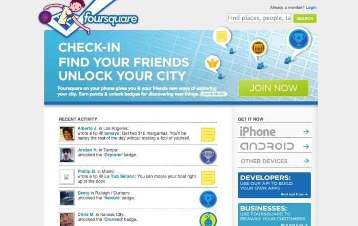 foursquare old version