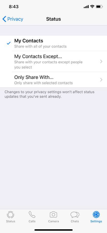 WhatsApp Settings - Status
