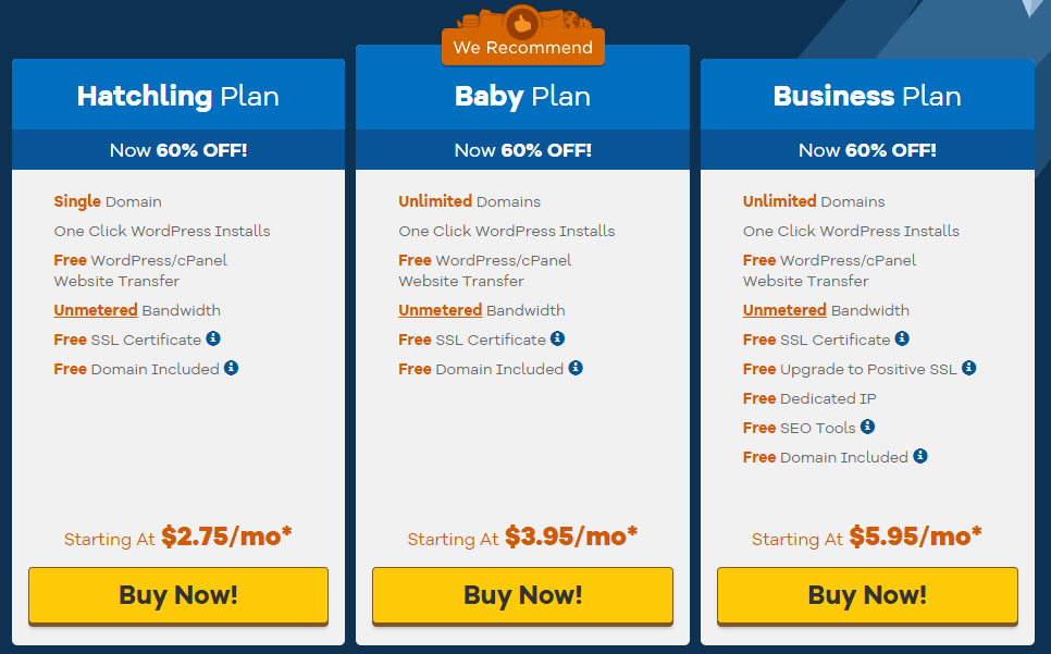 hostgator shared hosting pricing
