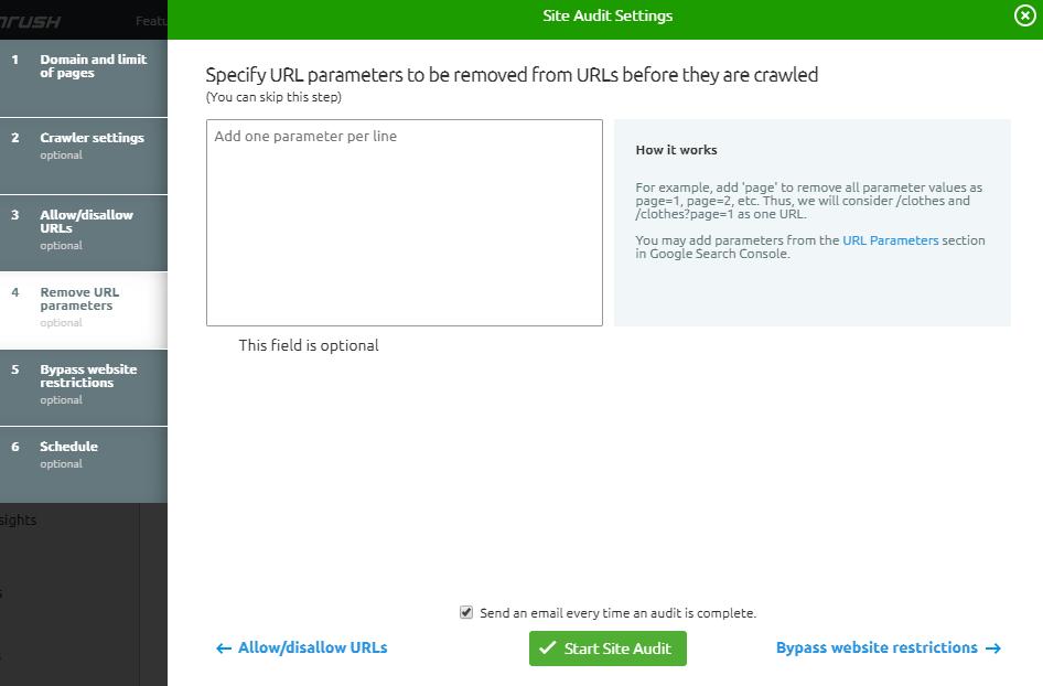Site Audit Settings - URL Parameters