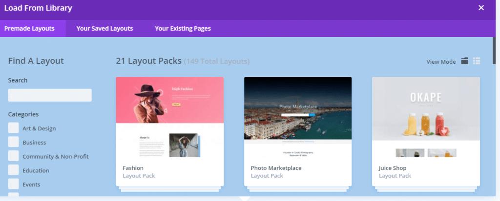 Search divi layouts
