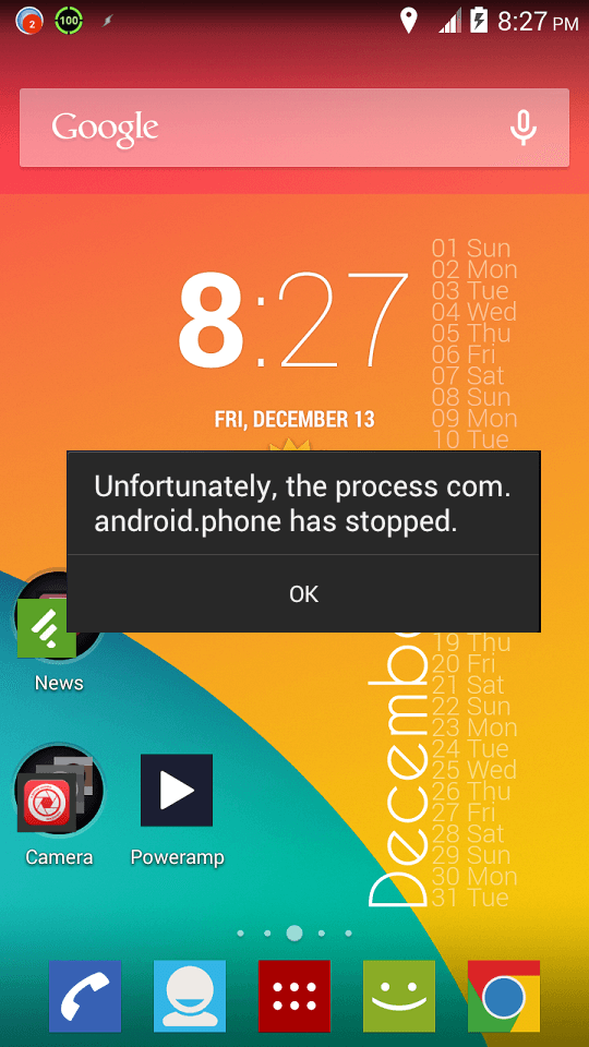 Fix Unfortunately the process com android phone has stopped