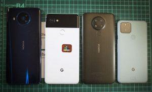 Phone sizes: Nokia 8.3, Pixel 2 XL, Nokia 3.4, Pixel 5