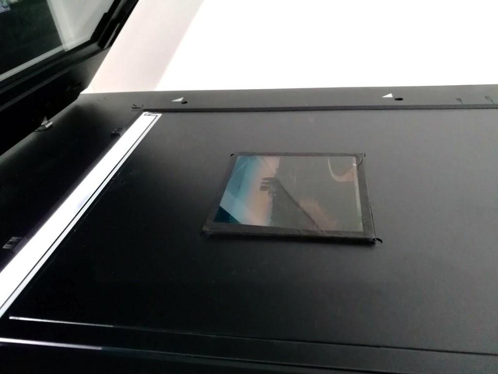 lantern slide on scanning platten
