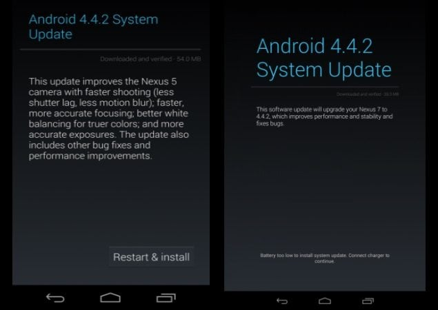 Nexus receives Android 4.4.2 KitKat update