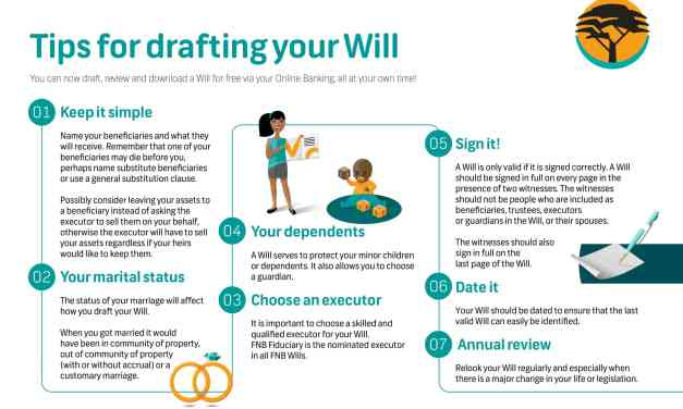 Consumers can now draft a Will digitally at no cost, through FNB Online