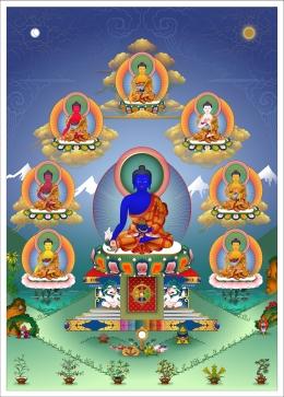 Eight Medicine Buddhas with Tibetan medicinal herbs