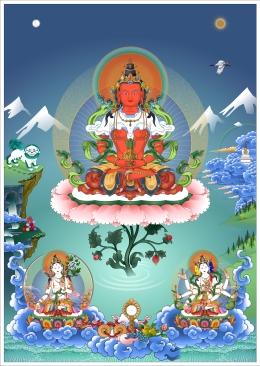 Long Life Deities Amitayus, White Tara and Namgyalma