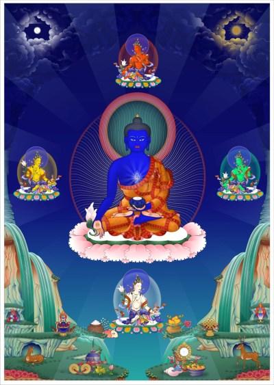 Medicine Buddha with Healing Dakinis