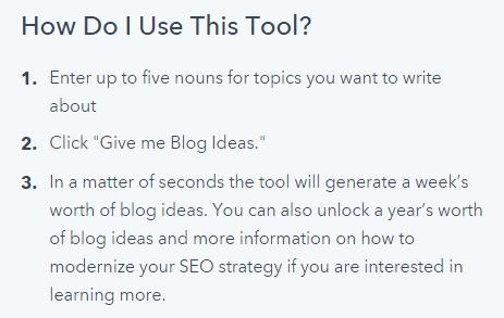 Hub spot's blog topic generator