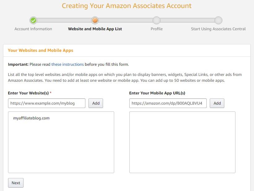 Création de votre compte Amazon Associates: liste de sites Web et d'applications mobiles