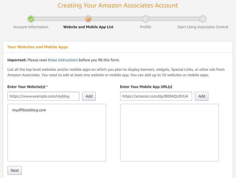 Creating Your Amazon Associates Account: Website And Mobile App List