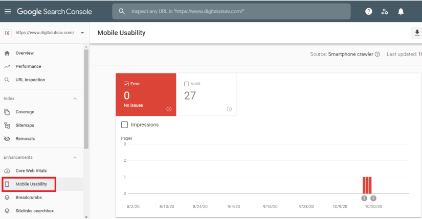 Google Search Console: Mobile Usability