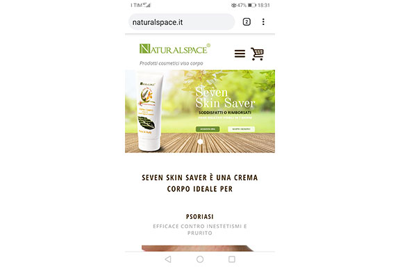 sito naturalspace visto da smartphone