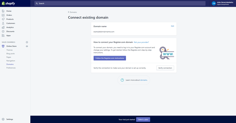 verify connection shopify