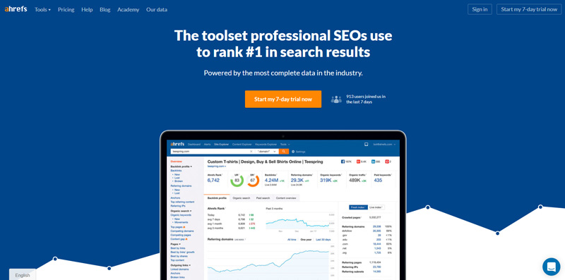 ahrefs homepage screenshot