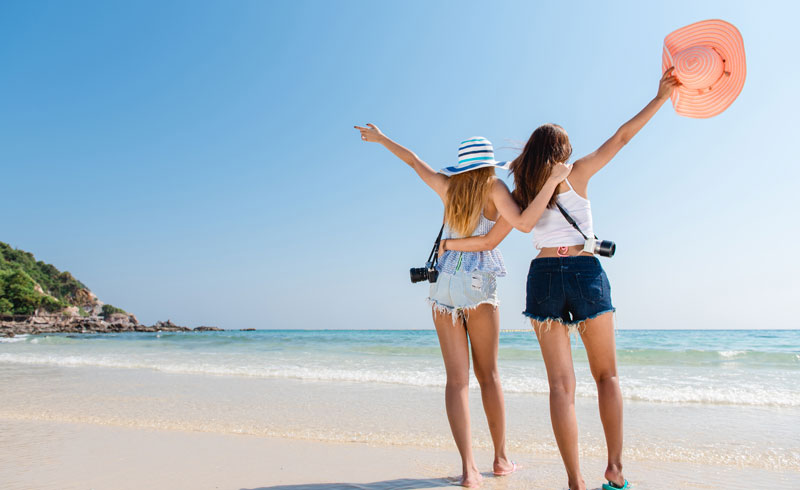 microstock photo two girls on the beach