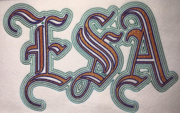 ESA Embroidery Font Example