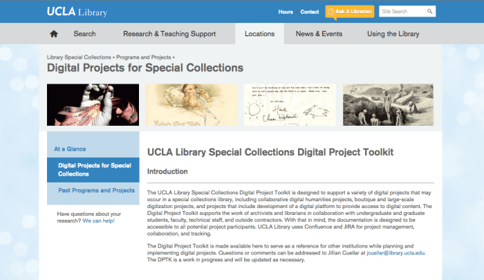 UCLA Digital Projects for Special Collection screeenshot