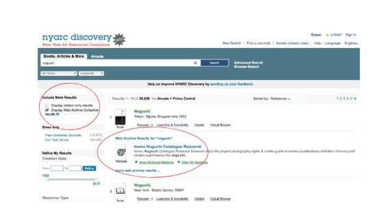 Fig. 2. A search in NYARC Discovery for the Isamu Noguchi Catalogue Raisonné yields web archive results from NYARC's Archive-It collections.