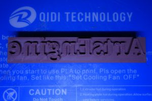 3D-printed type block, University of Michigan Library, Shapiro Design Lab