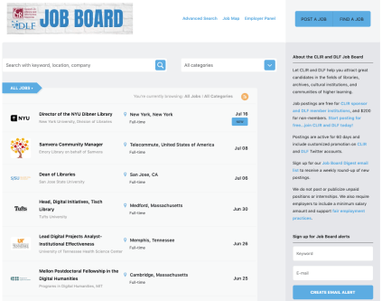 Screenshot of CLIRDLF Job Board