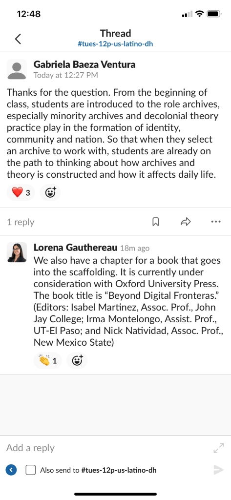 Pair of Screenshots from Panel Powerpoint Presentation and Slack Conversation showcasing the Pedagogical Design of the Recovering the U.S. Hispanic Literary Heritage Project