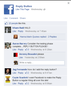 Facebook's Reply button in the comments in testing