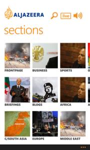 Sections on Al Jazeera Windows 8 App