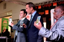 Orange Head Of Marketing Damian, And The MD Huawei Africa Launch The Ascend P6 In Uganda