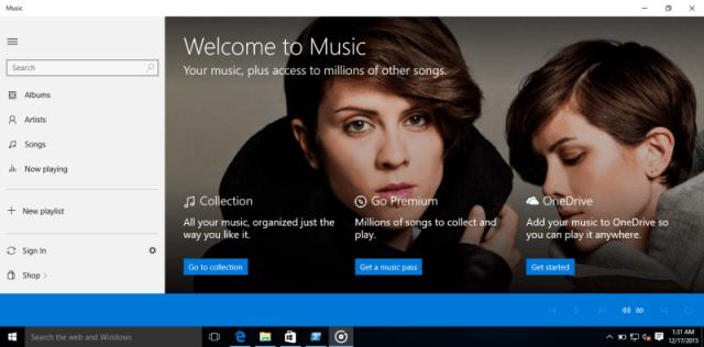 windows 10 music