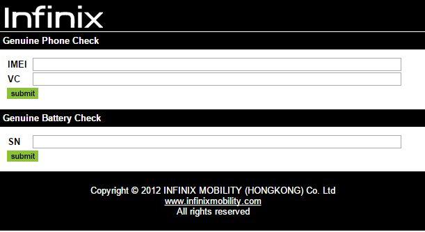 Infinix Smartphone Verification