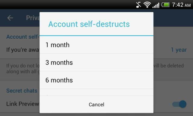 Telegram Account Self Destruct