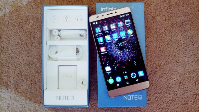 Infinix Note 3 with accessories