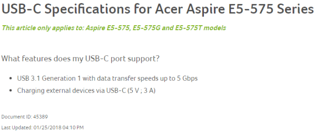 Acer Aspire Type C Specifications
