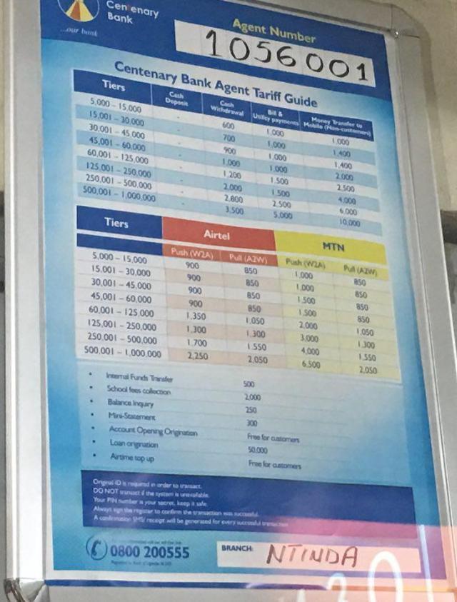 Centenary bank agent tarrif guide 2018