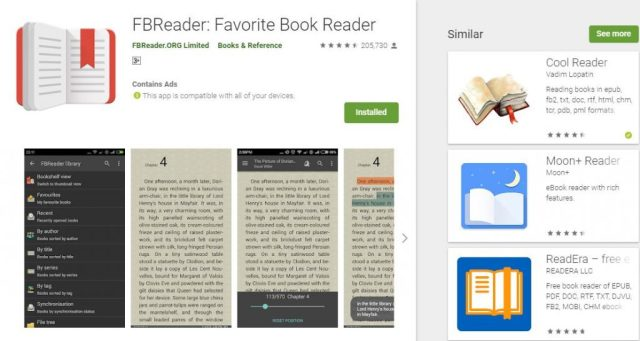 FBReader Top 5 Android eBook readers
