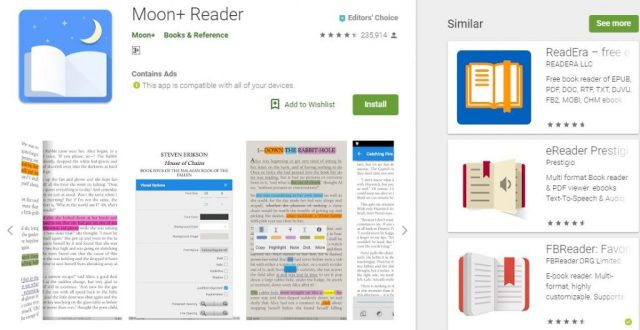 Moon+ Reader Top 5 Android eBook readers