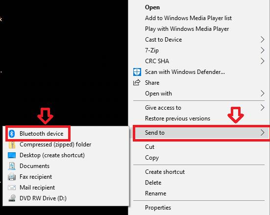 Share files via Bluetooth